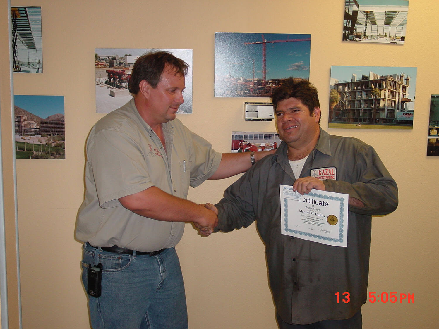 Worker receiving certificate