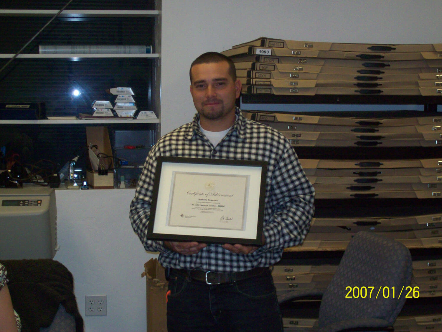 Worker receiving certification