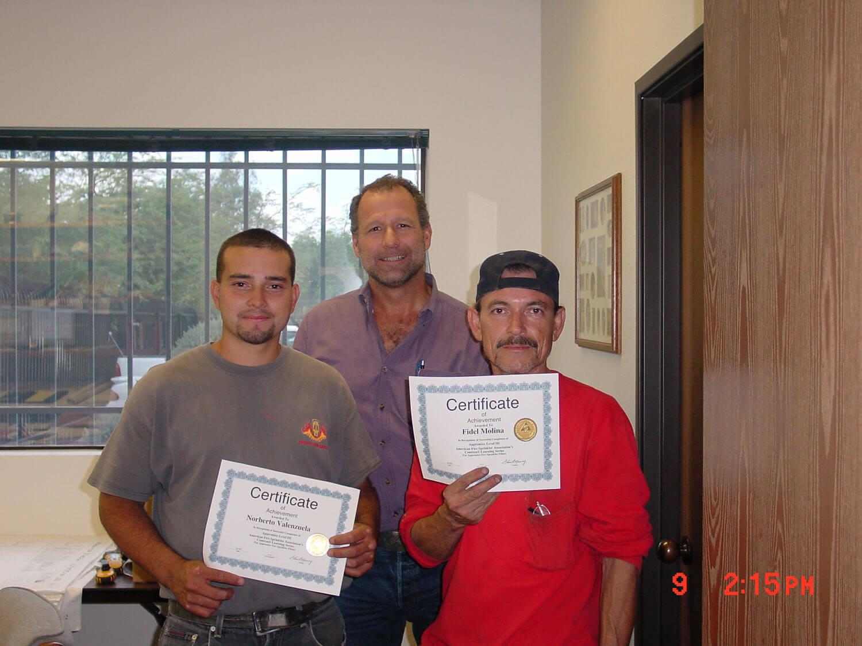Employees receiving certificate
